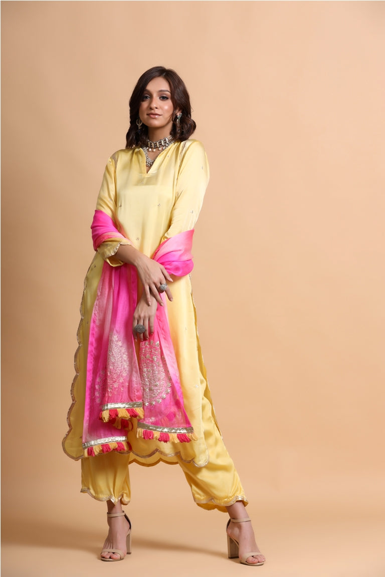 Marigold yellow scallop suit Set