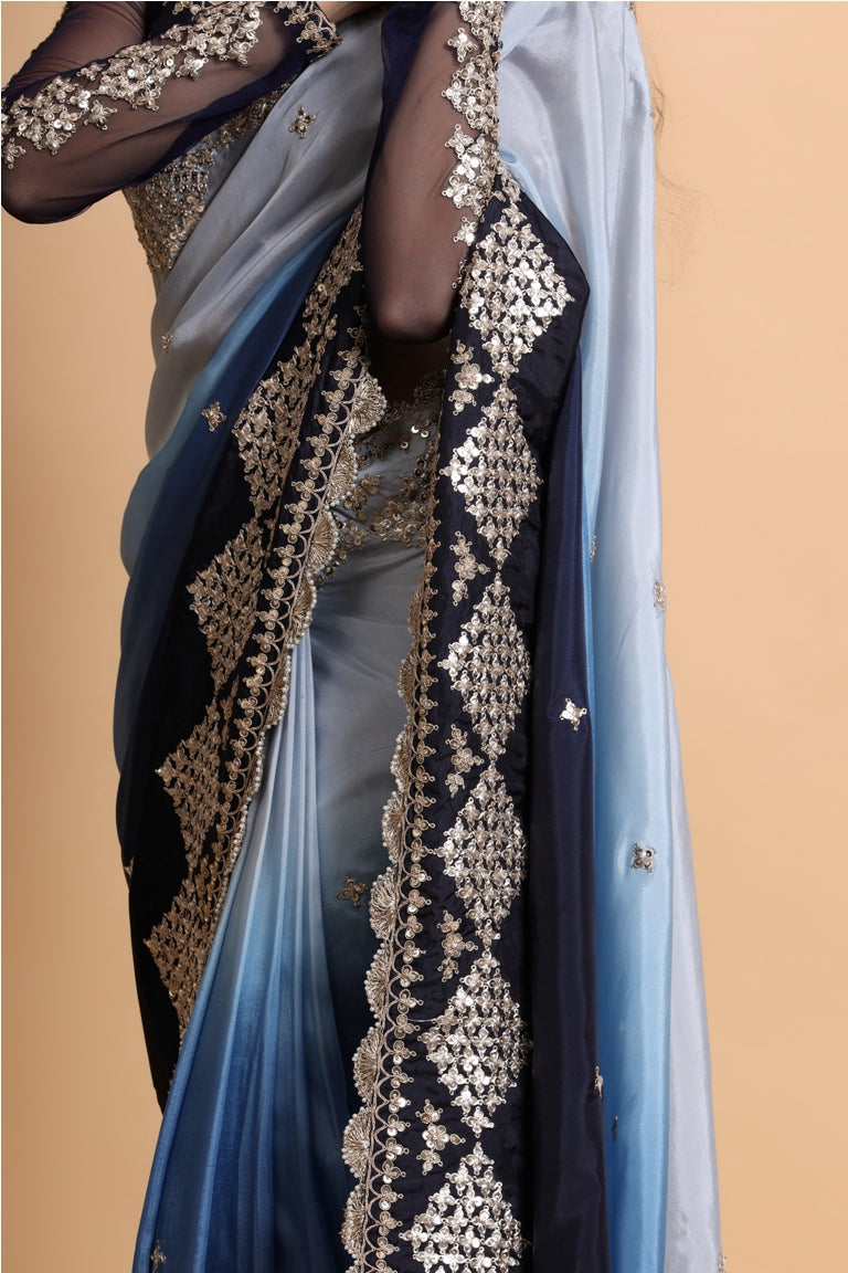 Blue Ombre Shaded Saree Blouse Set