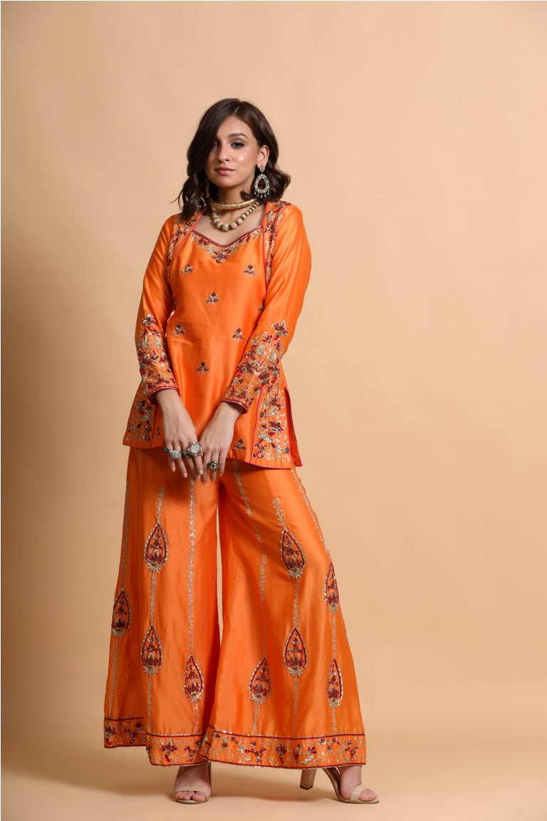 Orange kurta sharara set