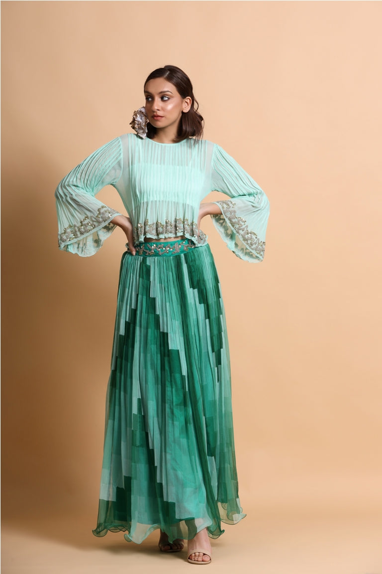 Sea green boho Top with green skirt