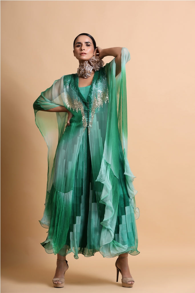 Green abstract long dress with leheriya embroidery cape