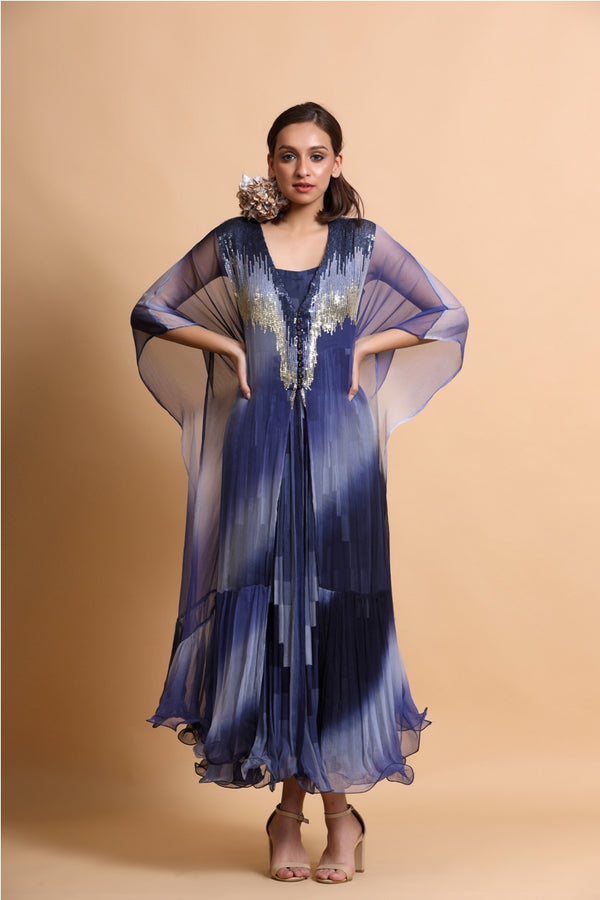 Blue abstract long dress with leheriya embroidery cape