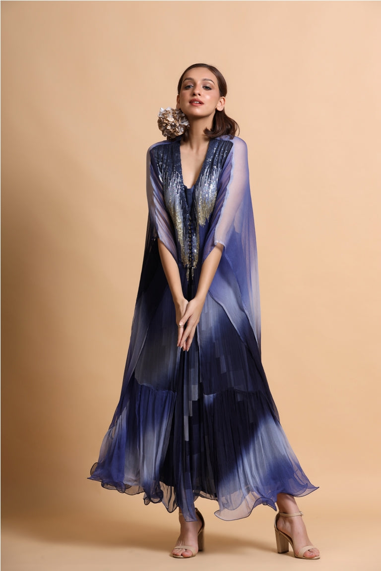 Navy abstract leheriya embroidery cape