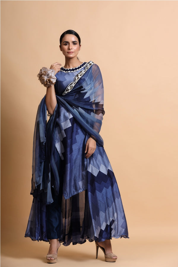 Blue Asymmetric Tunic with cape and pants
