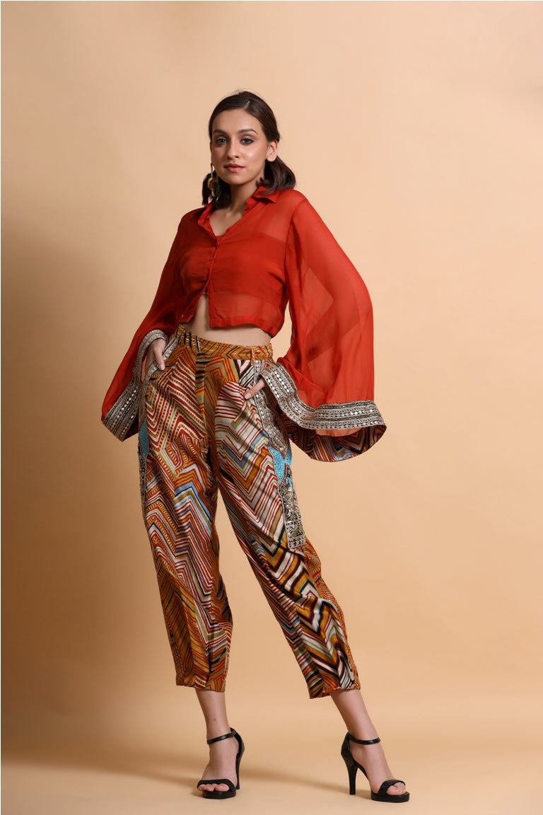 Mustard leheriya print Bell Sleeves Top and Baggie pant