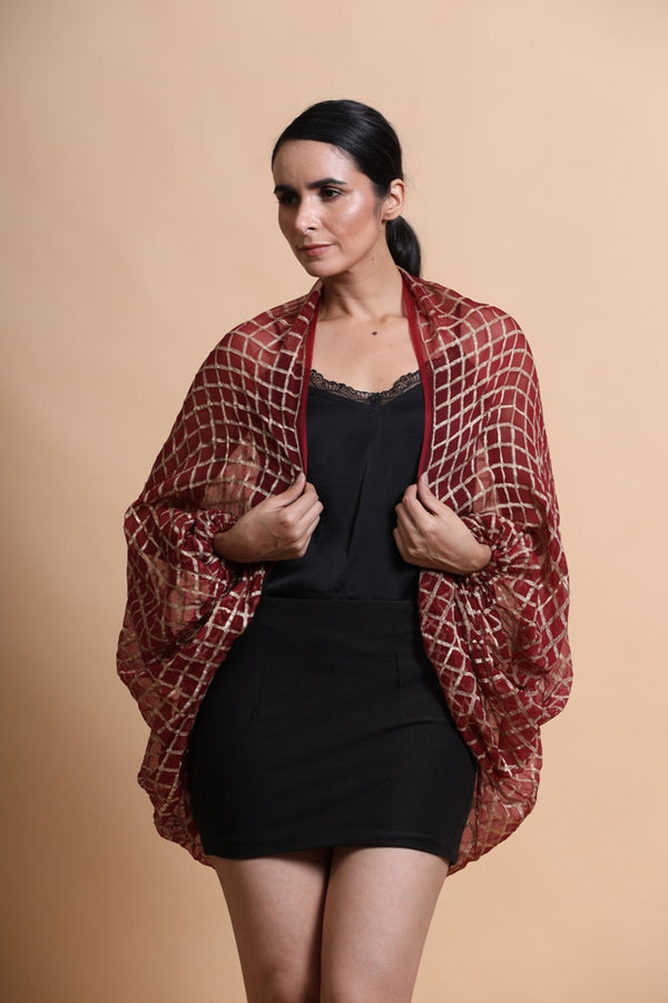 Deep Red Printed balloon sleeve Cape