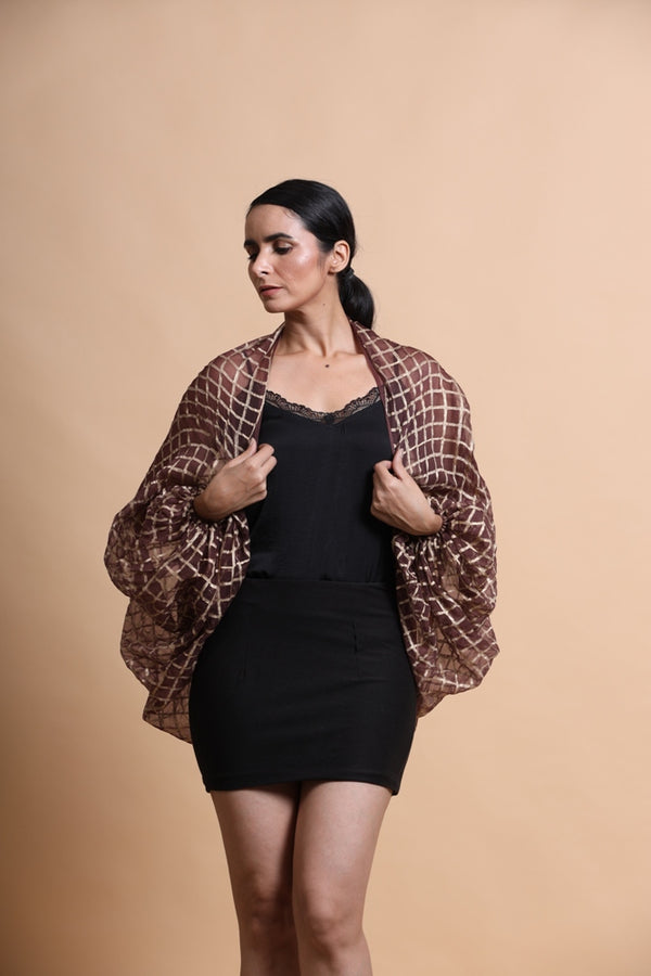 Brown printed balloon sleeve cape