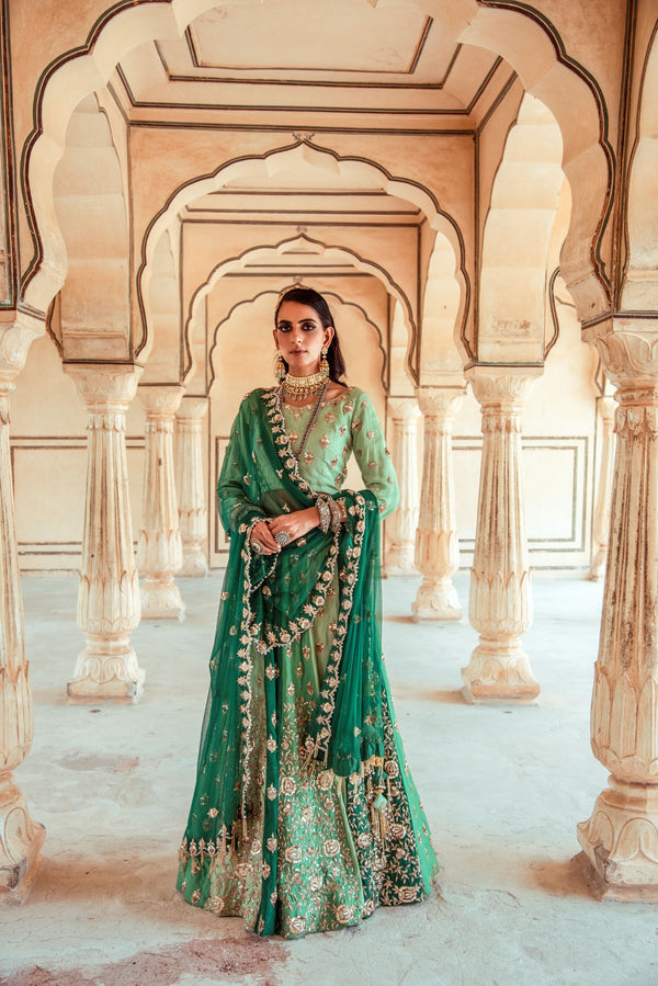 Sea Green Embroidered Lehenga Set-Indian wear-pallavijaipur.com