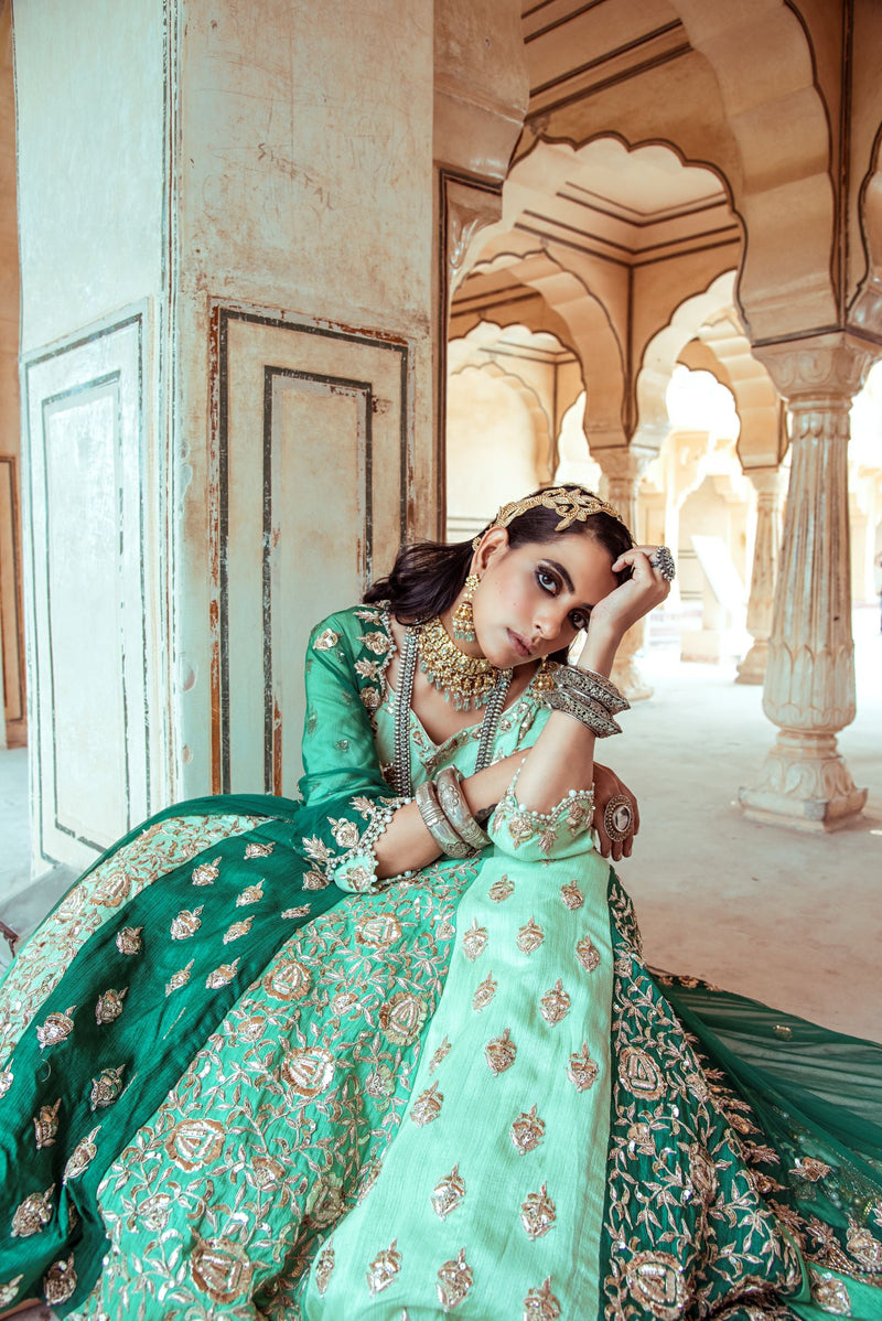 Sea Green Embroidered Lehenga Set-Indian wear-Pallavi Jaipur