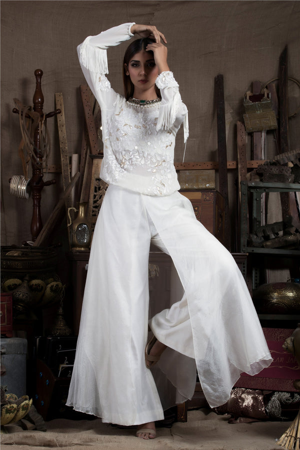 Ivory Top with Flare Pants-Indo Western-pallavijaipur.com
