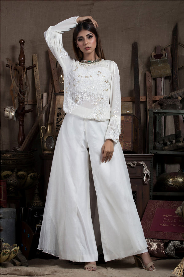 Ivory Top with Flare Pants-Indo Western-Pallavi Jaipur