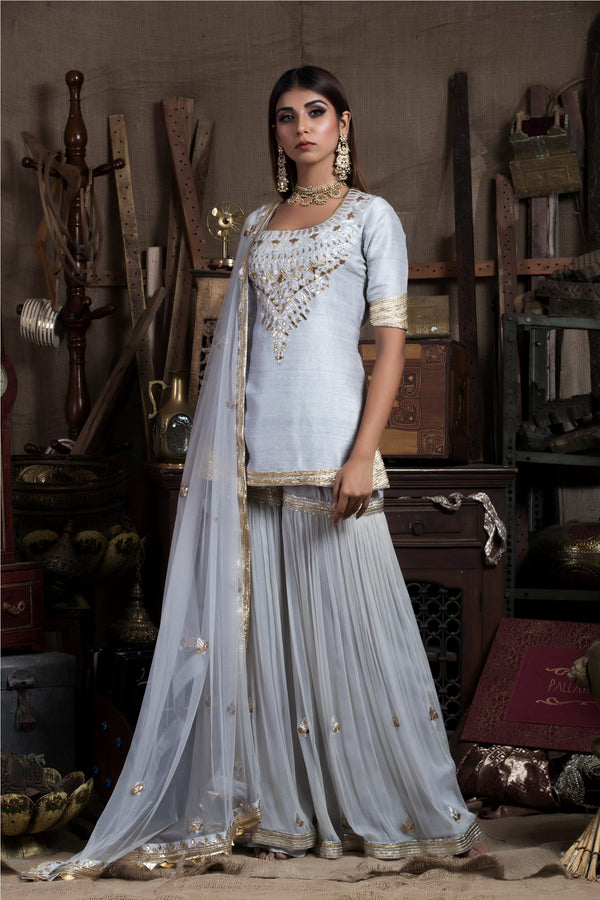 Grey Kurta Sharara Set-Indian wear-Pallavi Jaipur