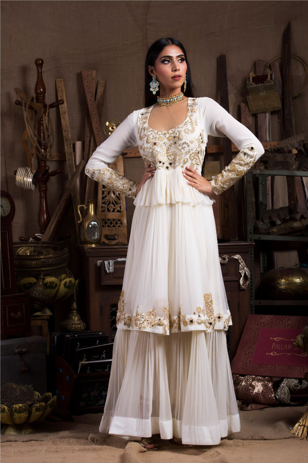 Ivory Long Kurta Set-Indian wear-Pallavi Jaipur