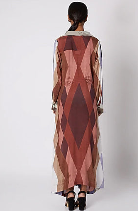 Brown Knotted Calf Length Dress