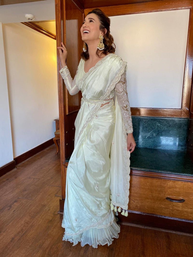 Gauahar Khan In Lemon Yellow Embroidered Saree-Indian wear-Pallavi Jaipur