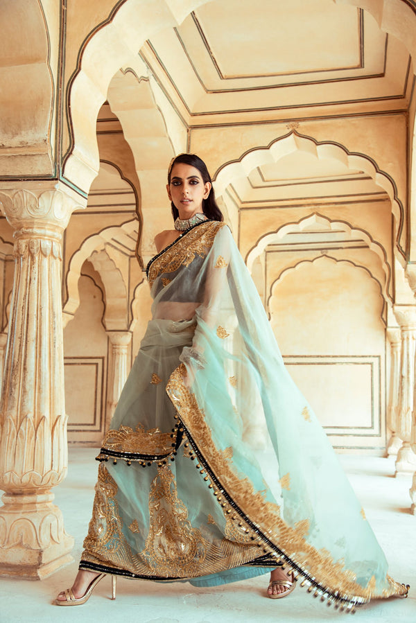 Jade Green Organza Saree-Indian wear-Pallavi Jaipur
