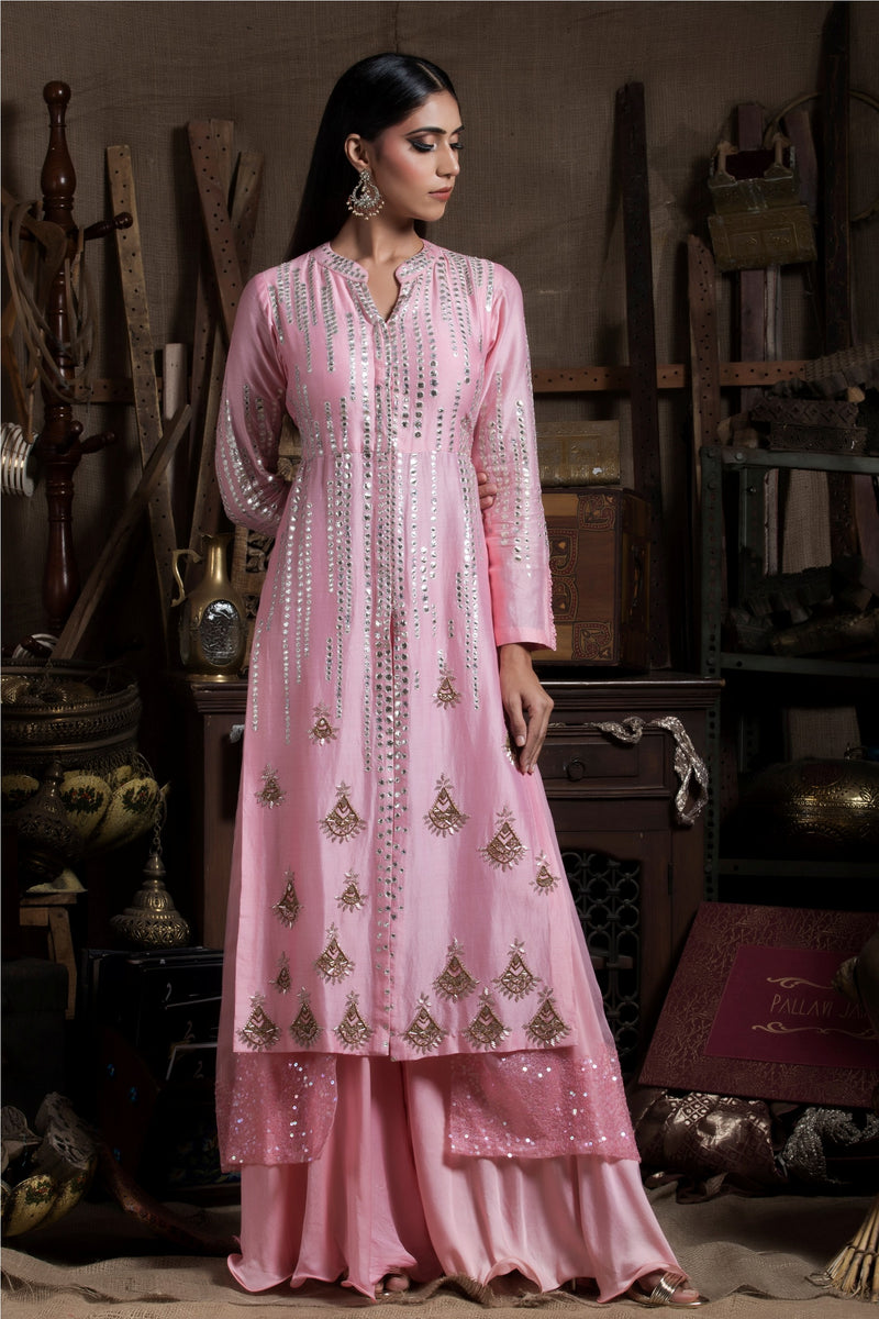 Pink Layered Kurta Palazzo Set-Indian wear-Pallavi Jaipur