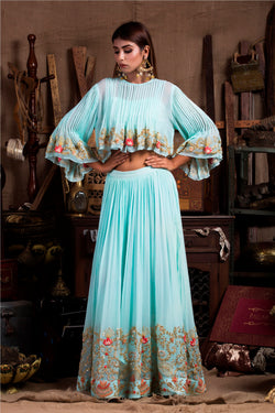 Aqua Boho Top with Skirt-Indo Western-Pallavi Jaipur