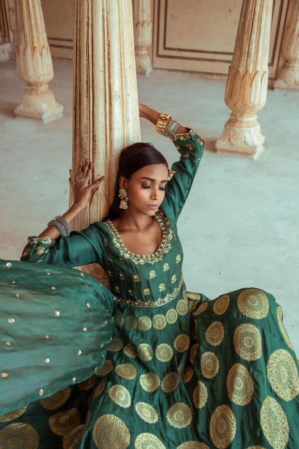 Heena Green Anarkali Sharara Set-Indian wear-Pallavi Jaipur