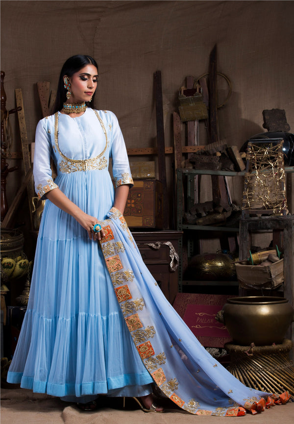 Sky Blue Kurta Set with Jacket-Indian wear-Pallavi Jaipur