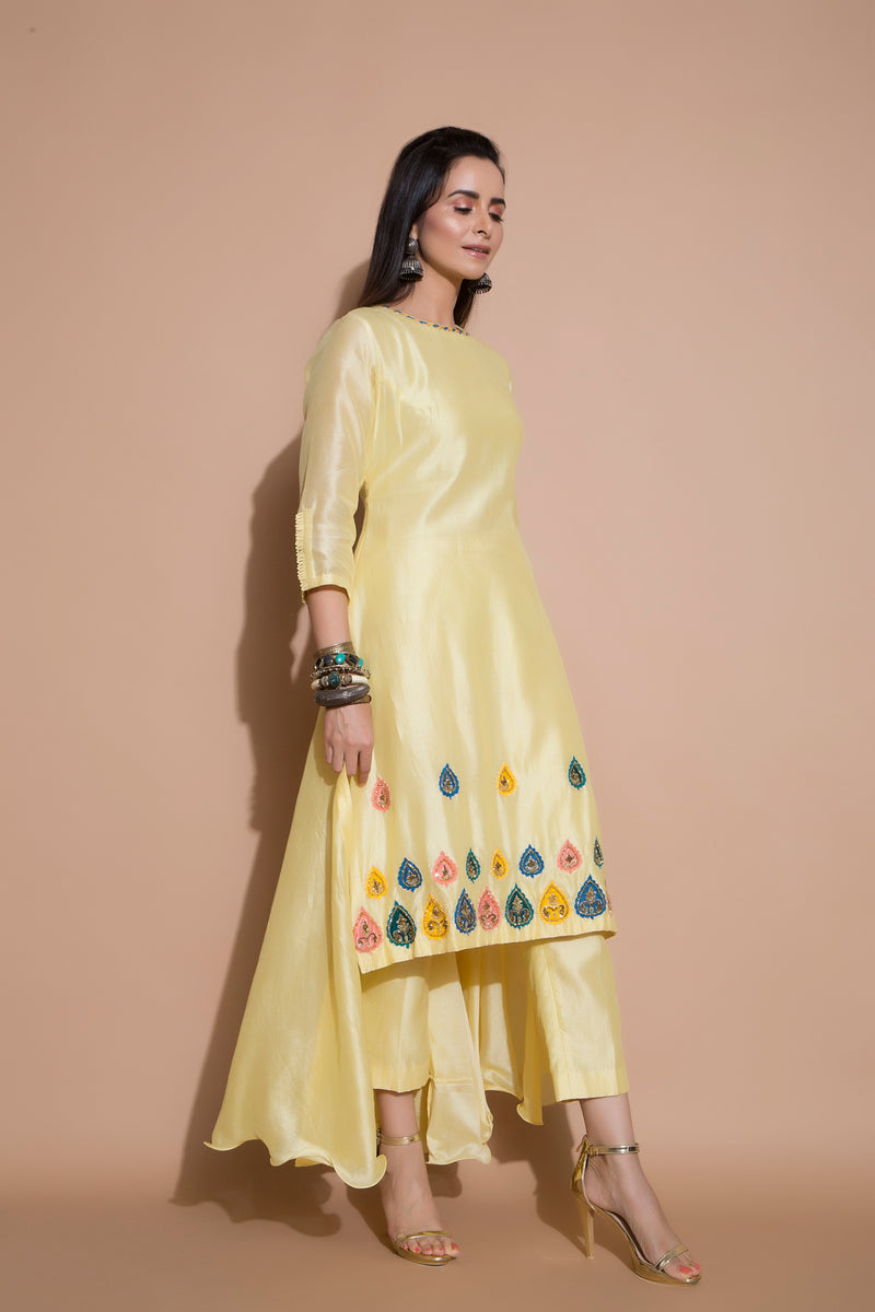 Yellow Long Kurta Set-Indian wear-Pallavi Jaipur