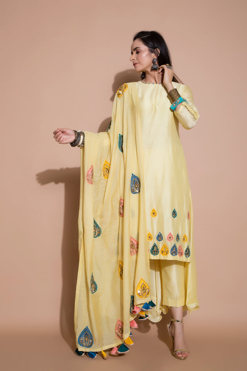 Yellow Long Kurta Set-Indian wear-pallavijaipur.com