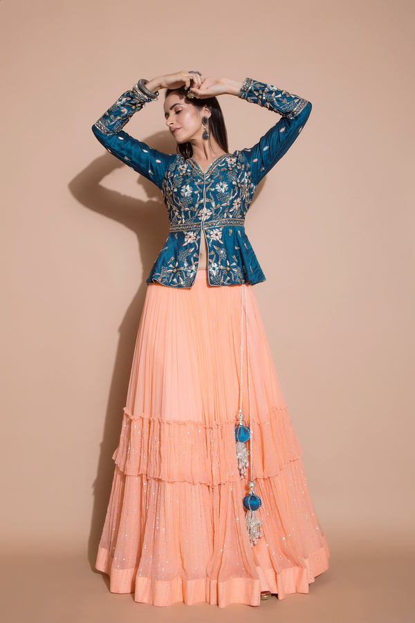 Peach Lehenga and Peplum Jacket Set-Indian wear-pallavijaipur.com