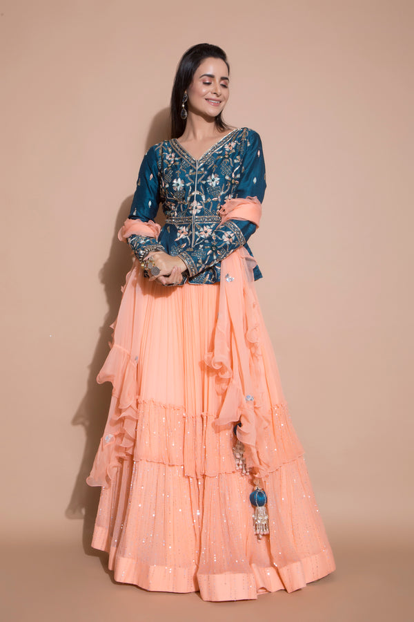 Peach Lehenga and Peplum Jacket Set-Indian wear-Pallavi Jaipur
