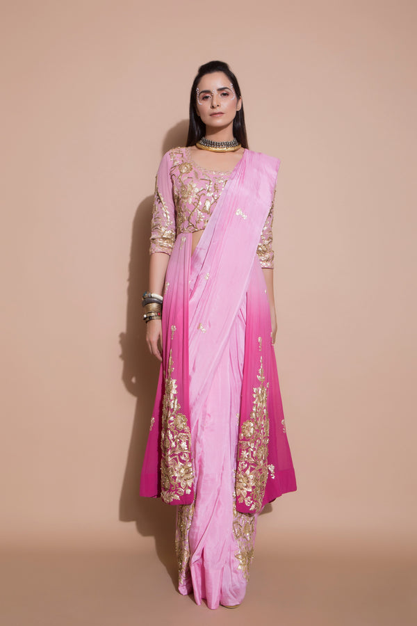 Anarkali Blouse and Pre-pleated Embroidered Saree-Indian wear-pallavijaipur.com