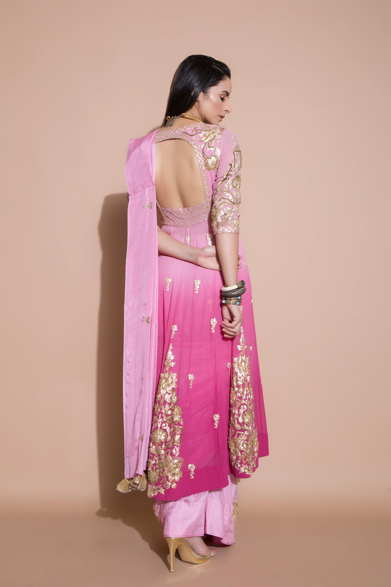 Anarkali Blouse and Pre-pleated Embroidered Saree-Indian wear-Pallavi Jaipur