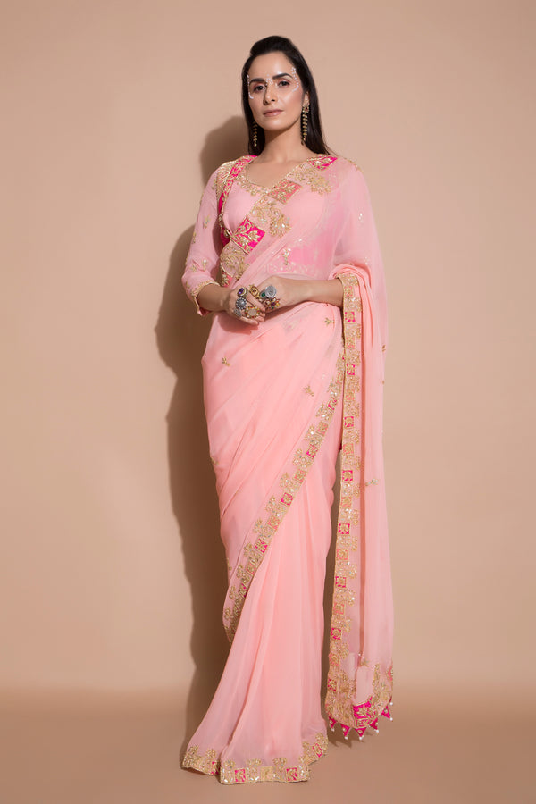 Pink Embroidered Saree with 2 Piece Blouse-Indian wear-Pallavi Jaipur