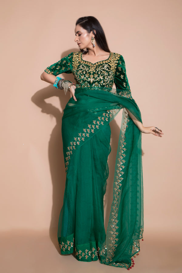 Emerald Green Embroidered Saree-Indian wear-Pallavi Jaipur