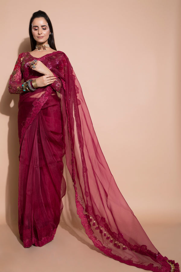 Beetroot Organza Saree with Blouse-Indian wear-Pallavi Jaipur
