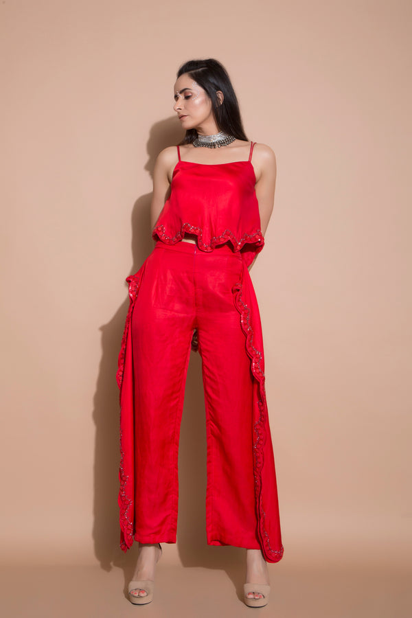Embroidered Singlet with Scalloped Edge Fall Pants-Western-pallavijaipur.com