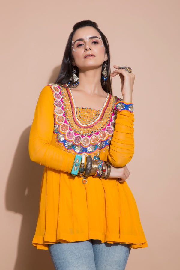 Embroidered Tangerine Tunic-Indo Western-Pallavi Jaipur