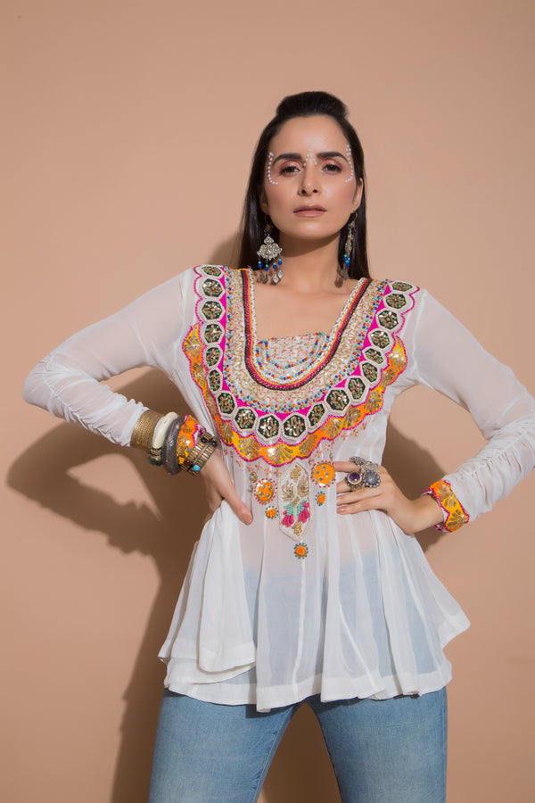 Embroidered Ivory Tunic-Indo Western-pallavijaipur.com