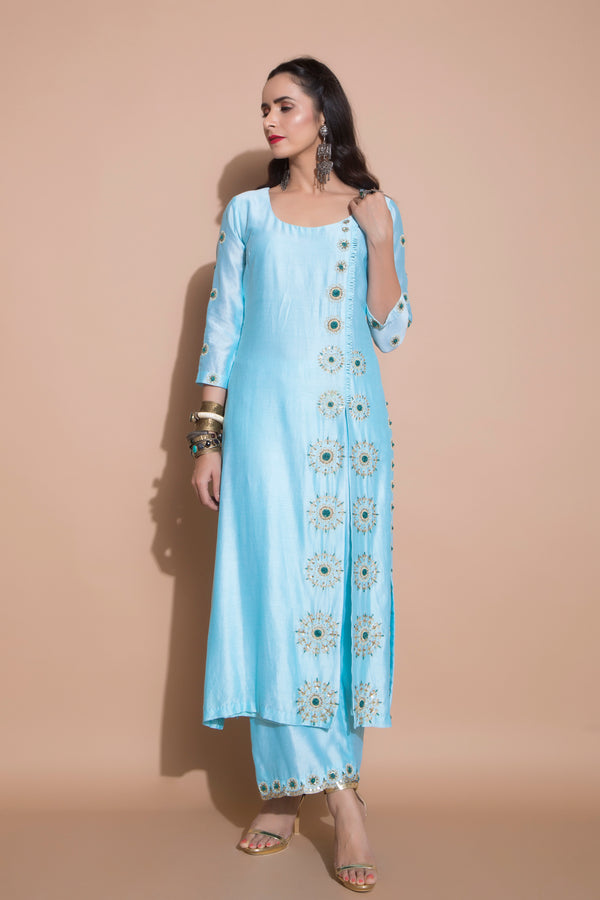 Turquoise Side Slit Kurta Set-Indian wear-pallavijaipur.com