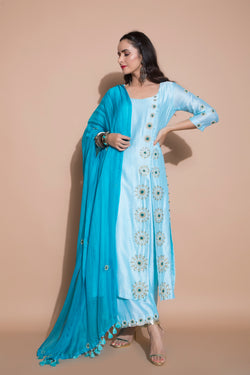 Turquoise Side Slit Kurta Set-Indian wear-Pallavi Jaipur