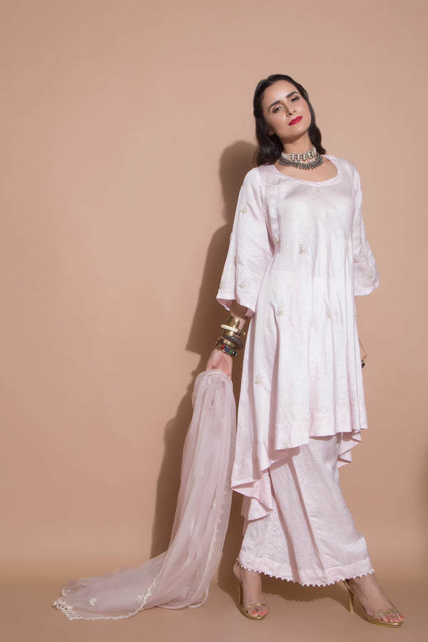 Powder Pink Kurta Set-Indian wear-pallavijaipur.com