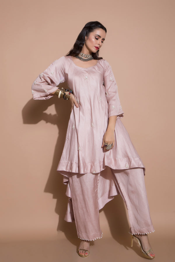 Onion Pink Kurta Set-Indian wear-pallavijaipur.com