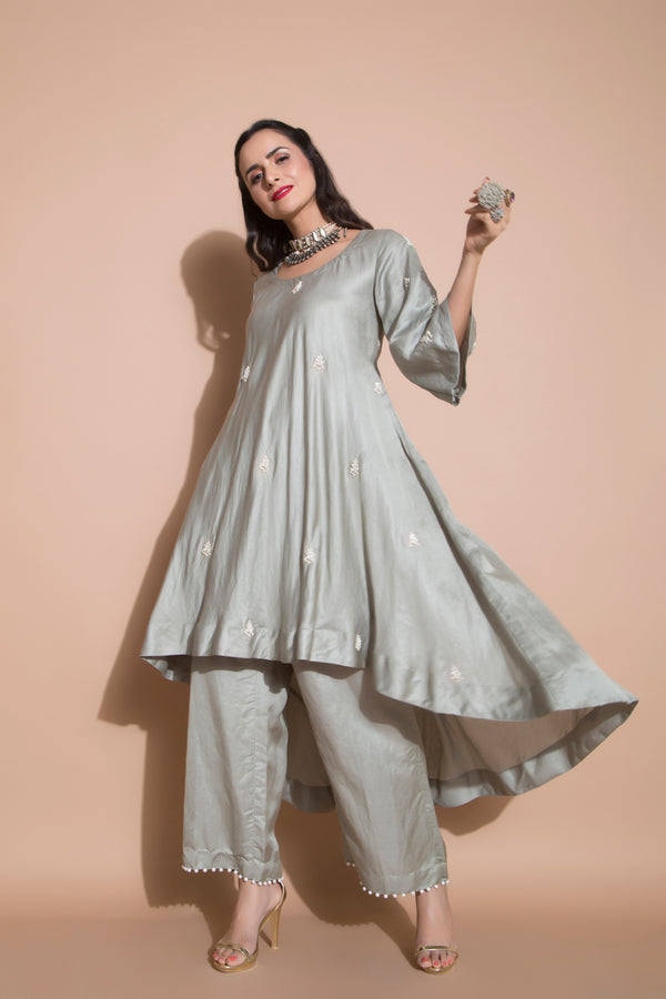 Linen Satin Kurta with Culottes and Organza Dupatta-Indian wear-pallavijaipur.com