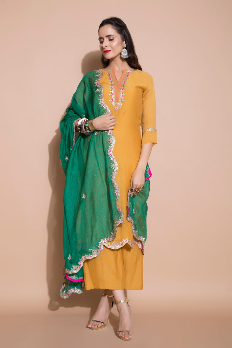 Mustard Embroidered Kurta Set-Indian wear-Pallavi Jaipur