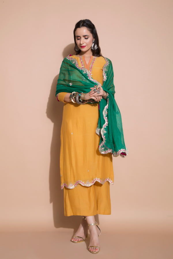 Mustard Embroidered Kurta Set-Indian wear-pallavijaipur.com