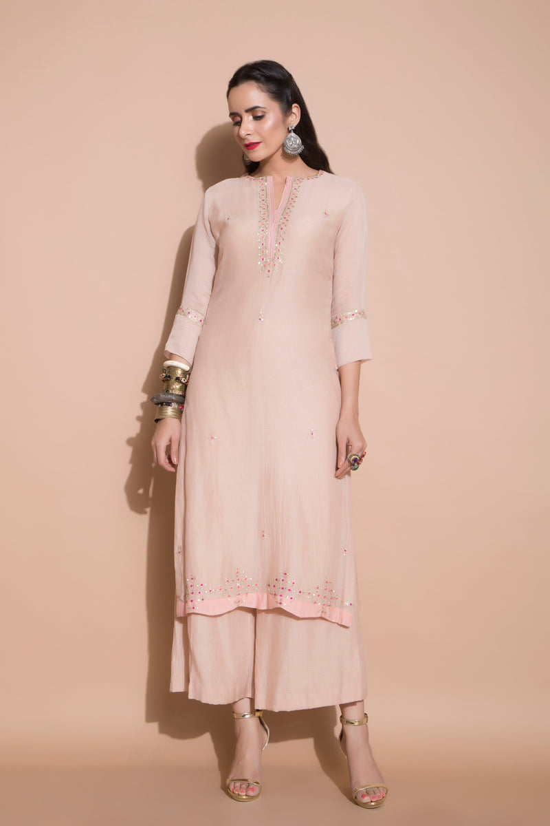 Pink Embroidered Kurta Set-Indian wear-Pallavi Jaipur