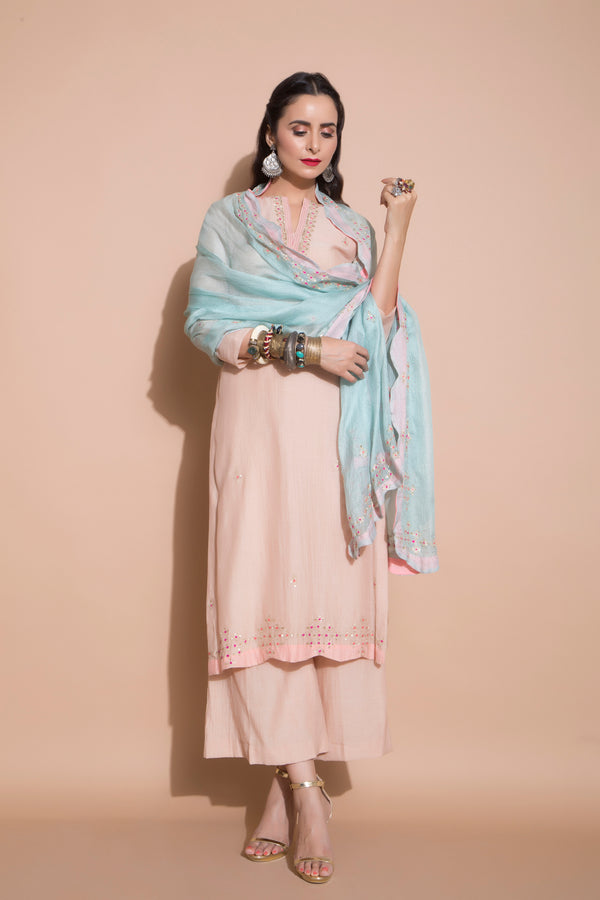 Pink Embroidered Kurta Set-Indian wear-pallavijaipur.com
