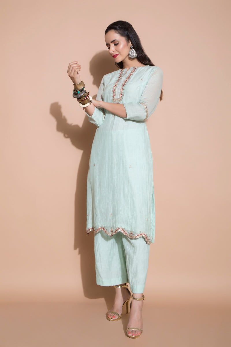 Jade Green Kurta Set-Indian wear-Pallavi Jaipur
