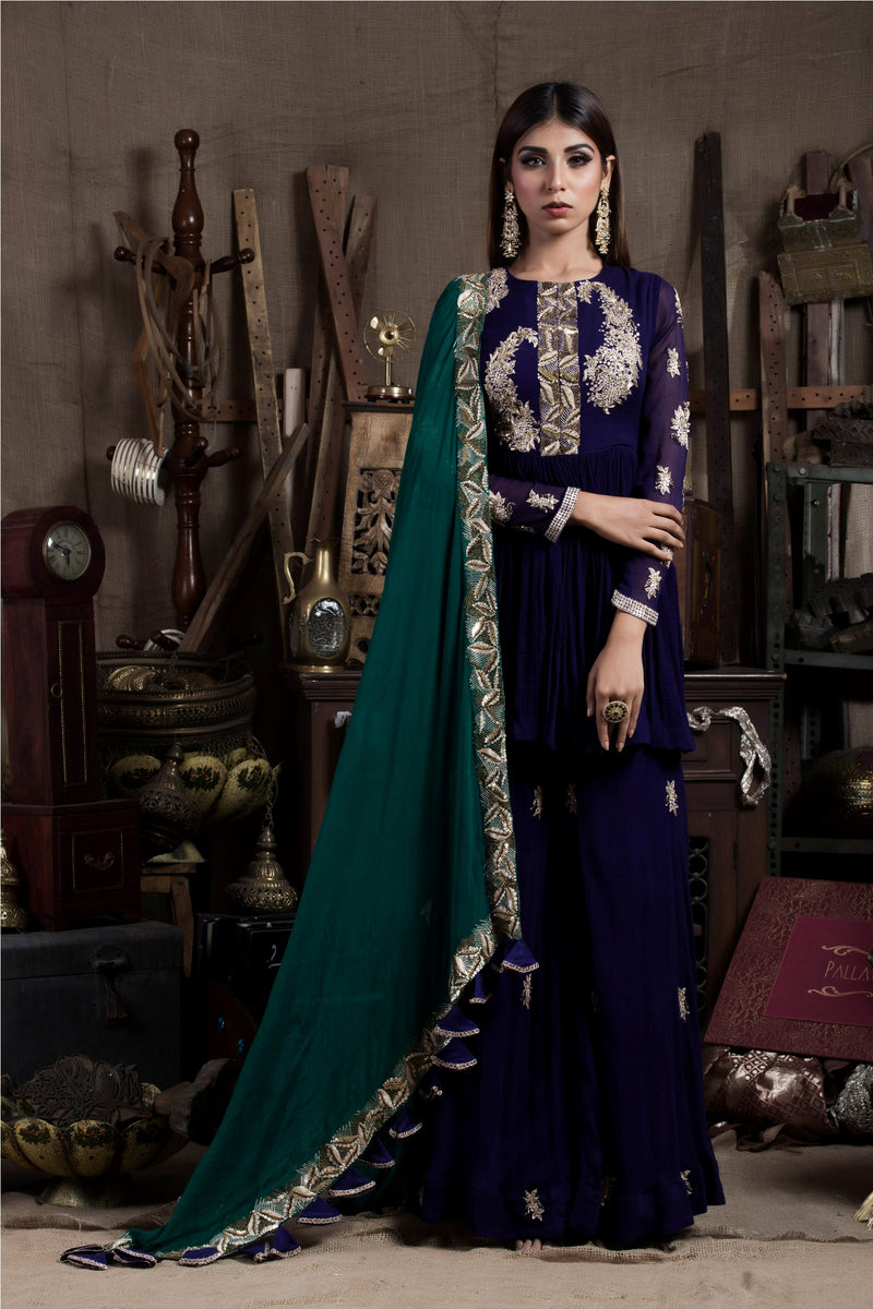 Aubergine Kurta Sharara Set-Indian wear-Pallavi Jaipur