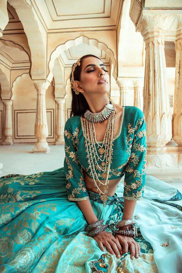Ombre Sea green lehenga set-Indian wear-Pallavi Jaipur