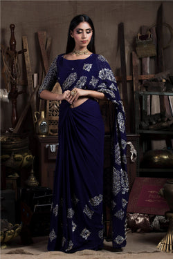Aubergine Saree with Blouse-Indian wear-Pallavi Jaipur