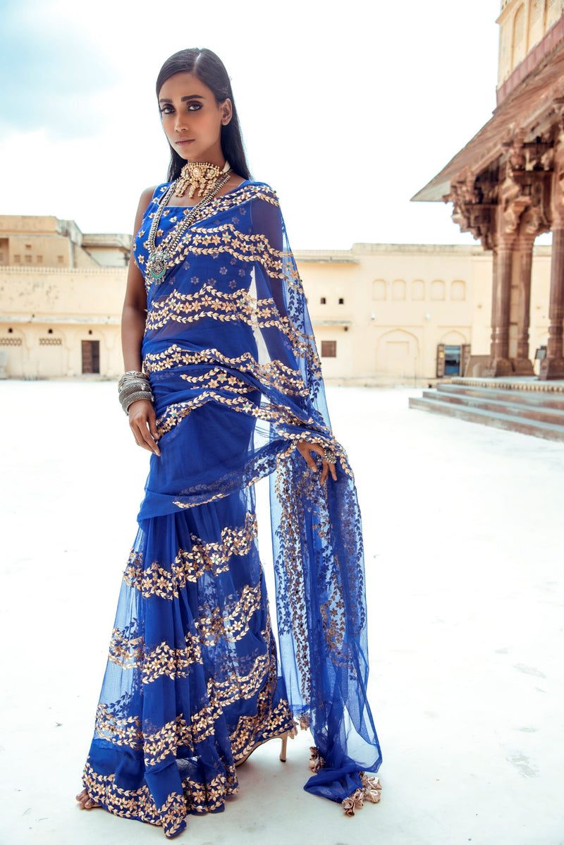 Royal Blue Scallop Silk Saree-Indian wear-Pallavi Jaipur